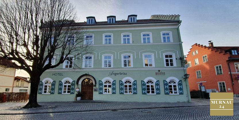 Aussicht auf das Hotel Angerbräu in Murnau