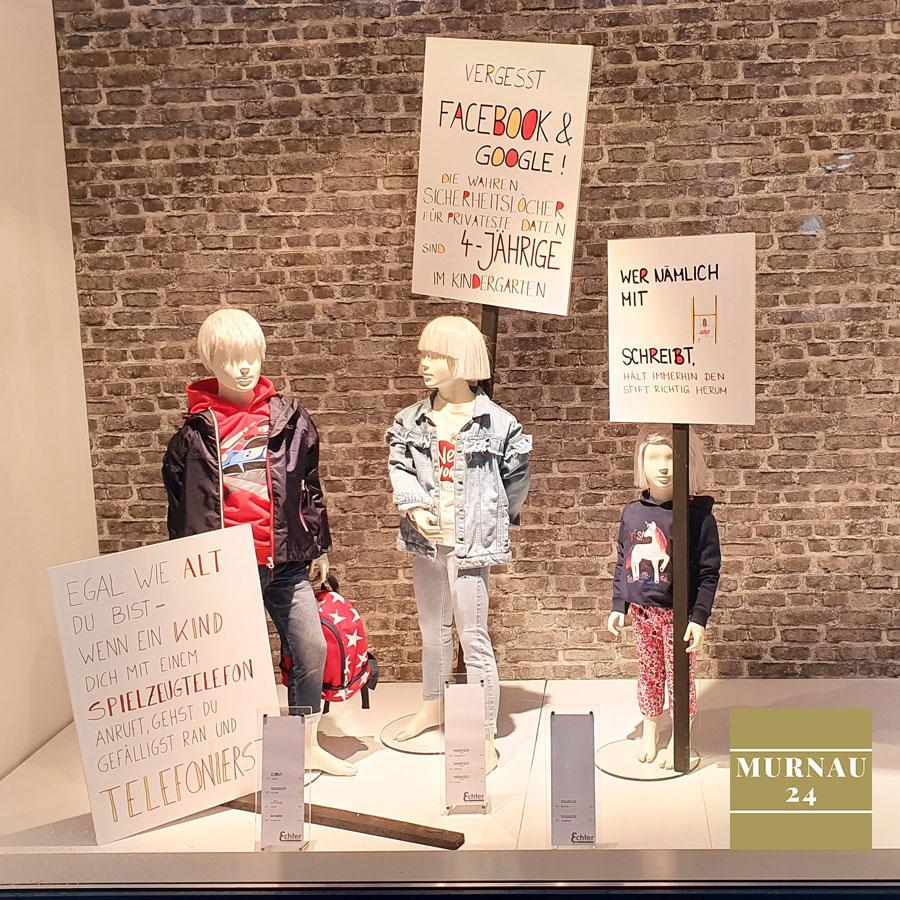 Der Echter Murnau präsentiert auch Kinder Mode im Schaufenster