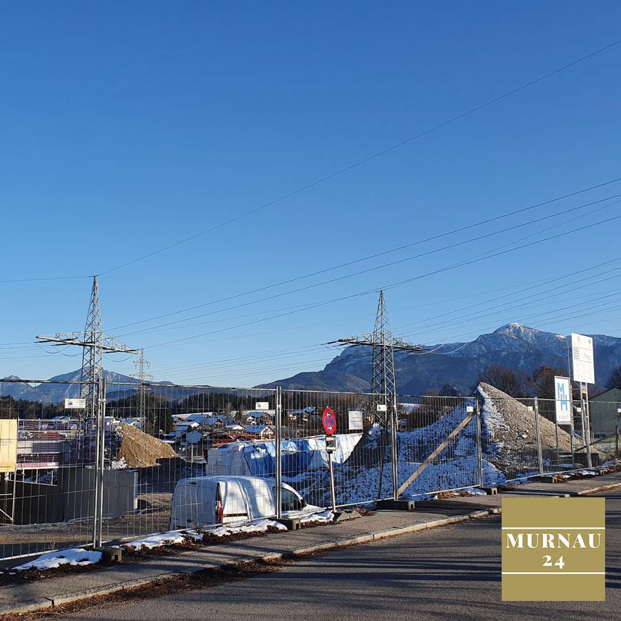 Aktuelle Situation der Baustelle am Längenfeldweg in Murnau